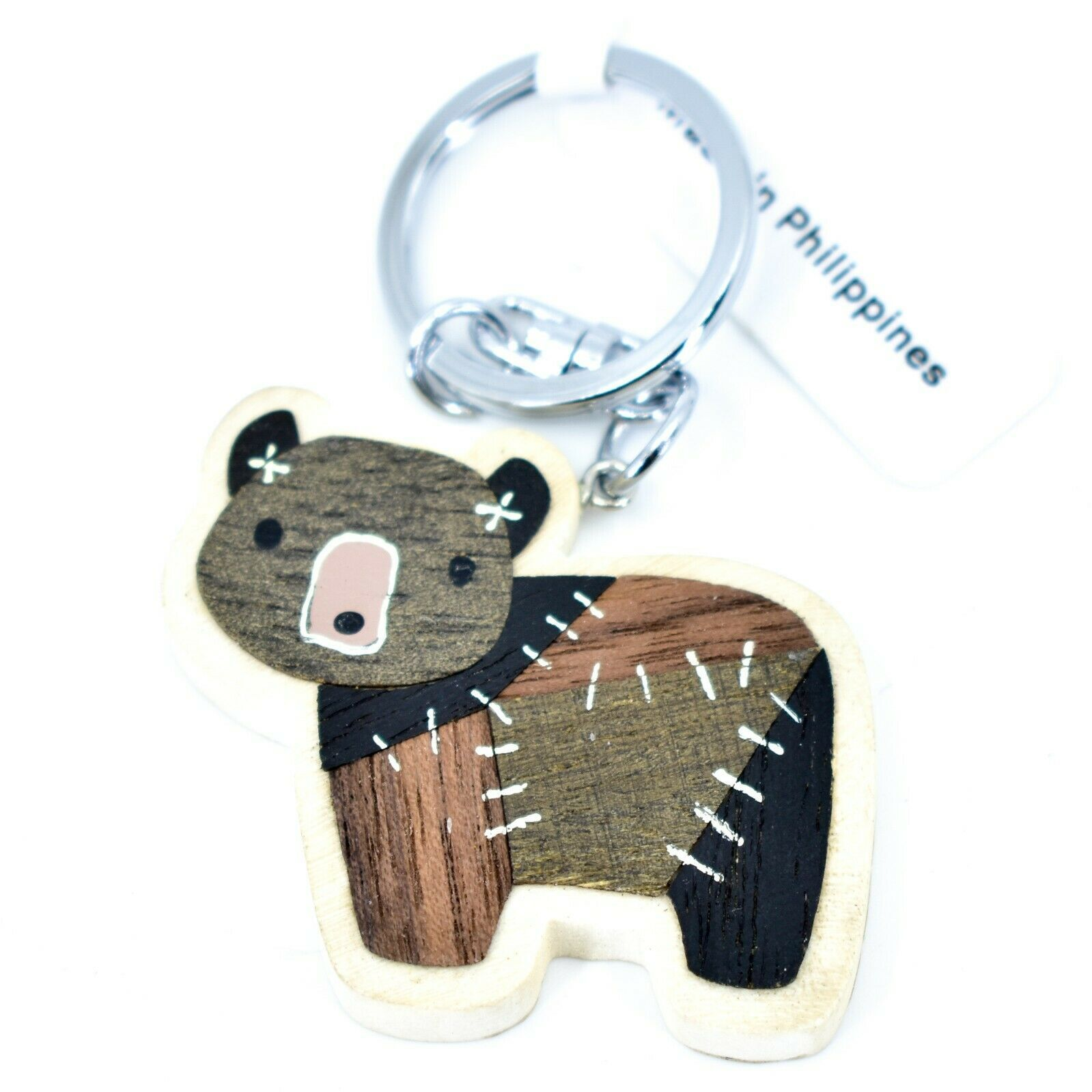 "Northwoods Layed Wood Quilted Patchwork Design Bear 1.75"" Keychain"
