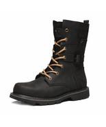 Men Boots Genuine Leather Winter Autumn Shoes(Black 10) - $132.29