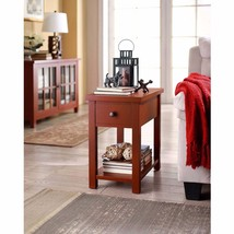 End Tables With Storage Drawer Antique Living Room Furniture Wood Bedroo... - $73.51