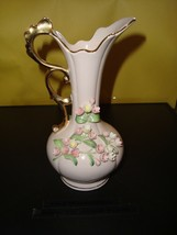 "Lefton China Pitcher / Vase  Pink / White Flowers Hand Painted Gold Handle 7"" - $22.49"