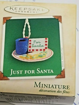 Hallmark Miniature 2004 JUST FOR SANTA cookies with coco on plate w card Santa - $9.40
