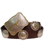 Houston Western Genuine Leather Concho Cowboy Belt - $38.25