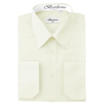 BERLIONI ITALY MEN'S PREMIUM FRENCH CONVERTIBLE CUFF SOLID DRESS SHIRT OFF WHITE
