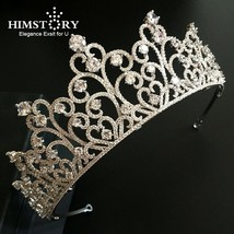 HIMSTORY European Brides Big Sparkling Silver Full Zircon Tiaras Crown L... - £52.31 GBP