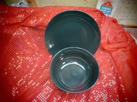 "ROYAL NORFOLK Black Stoneware Set of Two (2) :Bowl 6"" x 3"" / Plate 8"" Diameter - $3.50"
