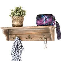 """Handcrafted Rustic Wooded Wall Mounted Hanging Entryway Shelf, 6 hooks. 24""""x6"""" U image 10"""
