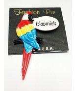 Bright Colorful Enamel Vintage PARROT Pin Red Blue Yellow says Bloomie's... - $13.50