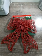(1) Christmas House Red Glittery Bow Ornament Decoration. New - $9.85