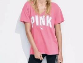 Victoria's Secret Pink V Neck Legging Tee  T Shirt Top Pink Medium New - $24.19