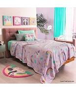Unicorn Rainbow Plush Throw Blanket Super Soft Fluffy Fleece with Toss P... - $57.42