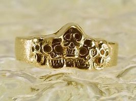 NICE Skull Family Skeleton Ring Gothic 24kt gold plated Bone - $32.81