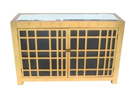 "32"" X 16"" X 48"" Gold Rustic Gold Lattice Wooden Cabinet - $1,022.15"