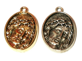 JESUS WITH CROWN OF THORNS FINE PEWTER PENDANT image 1