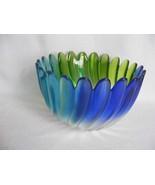 "Elegant Art Glass Bowl Libenstern Collection Walther Blue Green 4.75"" Ta... - $29.95"