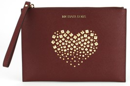 Michael Kors Merlot Dark Red Studded Heart Leather Clutch Wristlet Bag R... - $129.76