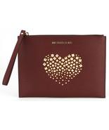 Michael Kors Merlot Dark Red Studded Heart Leather Clutch Wristlet Bag R... - $129.76
