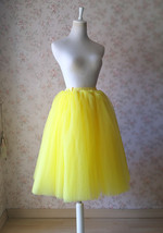 Yellow Puffy Midi Tulle Skirt Plus Size Tulle Tutu Skirt 6-layered Yellow Skirt  image 11