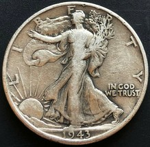 1943 USA Walking Liberty 90% Silver 50 Cent Half Dollar Coin - Great Con... - $10.38