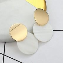 LOVBEAFAS 2019 Fashion Earrings For Women Round Shell Drop Earrings Meta... - $15.37