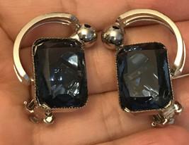 vintage earrings rhinestone silver tone  - $6.93