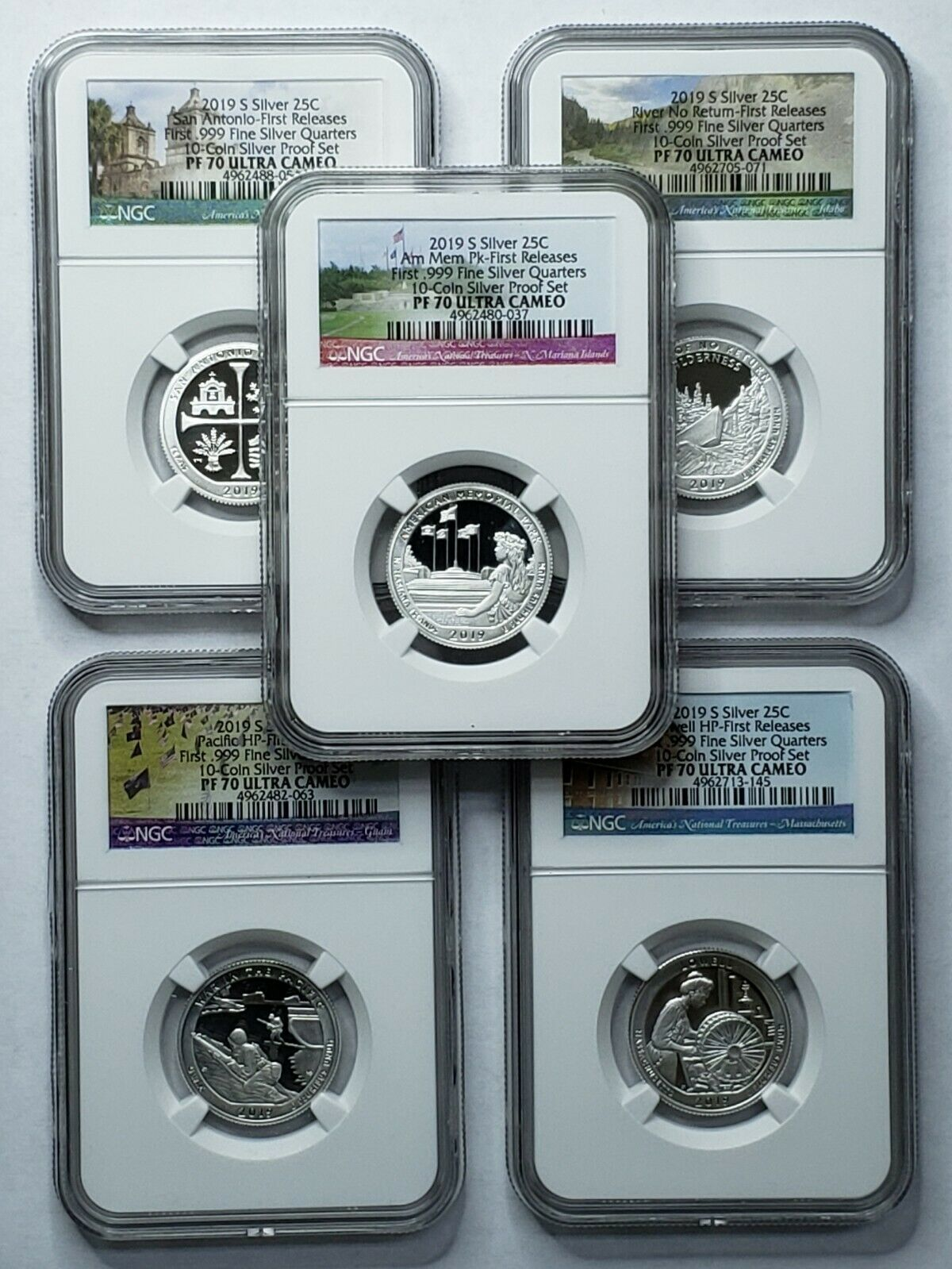 2019S NGC PF70 (5) COIN SILVER PROOF SET First .999 Quarters SKU C45