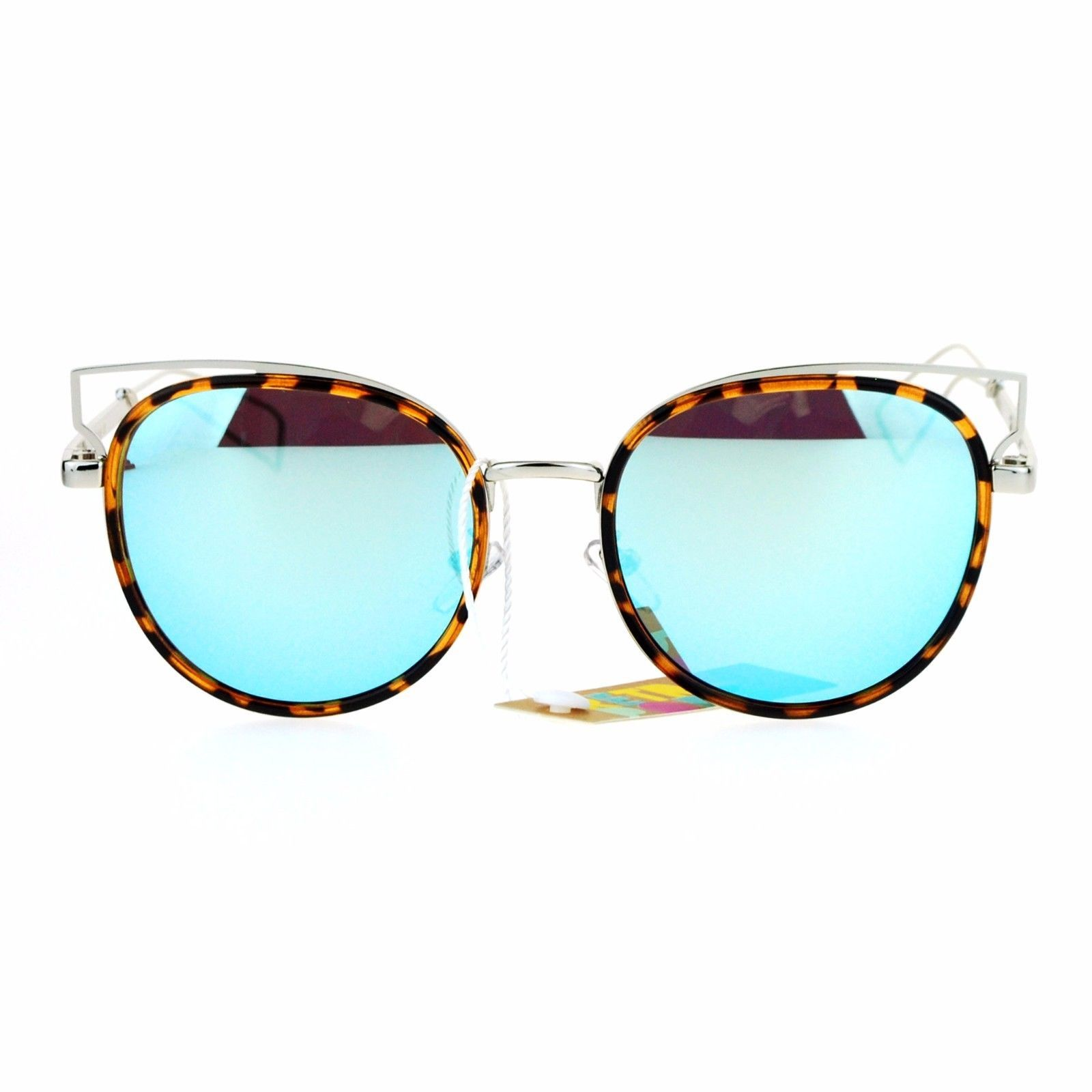 Womens Trendy Fashion Sunglasses Round Cateye Double Frame UV 400