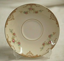Aristocrat by Homer Laughlin Saucer Plate Eggshell Nautilus Tan Border Floral - $12.86