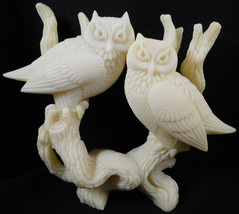 "Two Owls Perched on Tree Branch White Carved 6 1/2"" Figurine - $27.71"