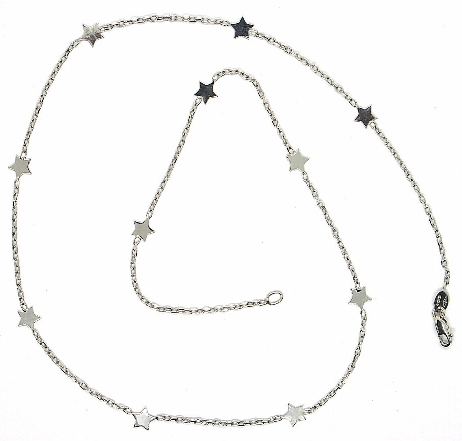 18K WHITE GOLD NECKLACE WITH FLAT STARS, SQUARE CABLE ROLO CHAIN, 16.5 INCHES