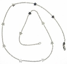 18K WHITE GOLD NECKLACE WITH FLAT STARS, SQUARE CABLE ROLO CHAIN, 16.5 INCHES image 1