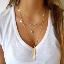 USA Fashion 3 Layer Gold Chain Turquoise Beads Golden Feather Pendant Ne... - $12.86