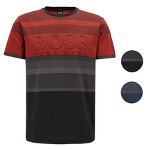 Hugo Boss Men's Striped Embossed Logo Cotton Slim Fit T-Shirt TEEP 2 50399408