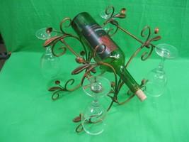 Vintage Metal Wine Bottle and Glass Holder Includes 4 Glasses & Wine Bottle - €23,28 EUR