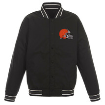 NFL Cleveland Browns Poly Twill Jacket Black  With One Patch Logo  JH Design - $99.99