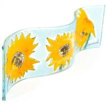 Fused Art Glass Sunflowers Flowers Wavy Decor Sun Catcher Handmade in Ecuador image 3