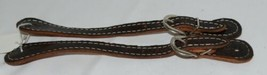 Unbranded Dark Brown adult Overlay Spur Straps Silver Colored Buckle 1 pair image 1