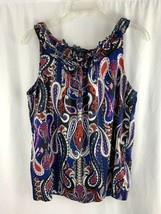 Tommy Hilfiger Sleeveless Blouse Top Size Medium Blue Paisley Satin Feel M Women - $14.80