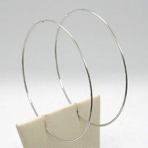 18K WHITE GOLD ROUND CIRCLE HOOP EARRINGS DIAMETER 60 MM x 1 MM, MADE IN ITALY image 1
