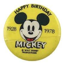 "Mickey Mouse Happy Birthday 1928-1978 1"" Vintage Pinback Button Walt Disney - $3.99"