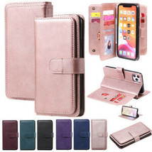For iPhone 11 12Pro Max XR 7 8+ Luxury Flip Leather Wallet Card Purse Ca... - $66.05
