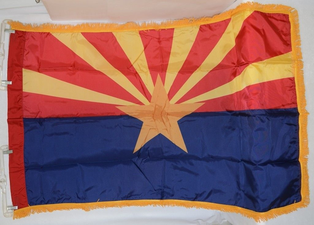 Valley Forge Arizona Flag Pole Hem Yellow Fringe Three By Five Feet