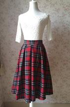 2017 Autumn Women Plaid Skirt Pleated Plaid Skirt - High Waist, Red Check,Midi  image 6