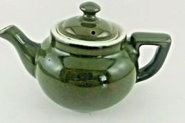 "Vintage Dark Olive Avocado Green Hall Small 4 1/2"" Teapot Restaurant ware - $4.95"