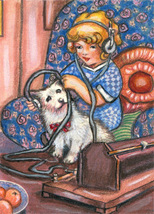 little girl puppy dog original aceo art pencil drawing animal pets minia... - $14.99