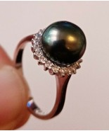 Tahitian Pearl Ring Set in St Silver 9-9.5mm with CZ New Jewellery RRP £699 - $342.30