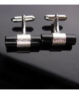 Vintage Tuxedo Cufflinks - black tubes -Anson silver bars - formal wear ... - $125.00