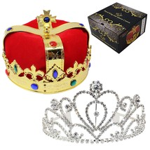Royal Jewleled 2 Pack King's and Queen's Royal Crowns - King Queen Costu... - £19.49 GBP