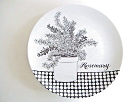 Fitz And Floyd Variations Salad Dessert Plate Rosemary Pattern Black & W... - $7.87