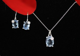 Padua Necklace and Earring Gift Set - Faux Stones, w/ Rhinestones - Lt Blue - $14.99