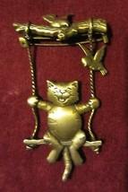 VINTAGE CAT SWINGING ON SWING PIN - SIGNED - $14.20